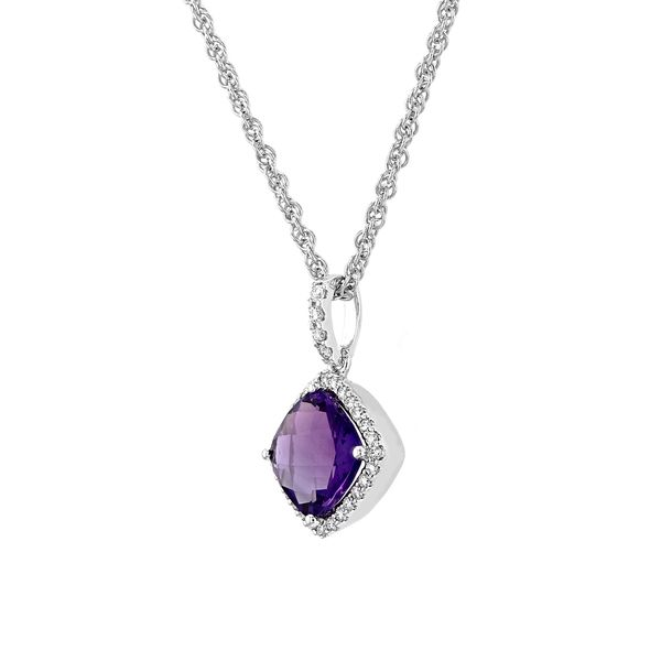 1.32tw Cushion Cut Amethyst & Diamond Pendant Image 2 La Mine d'Or Moncton, NB