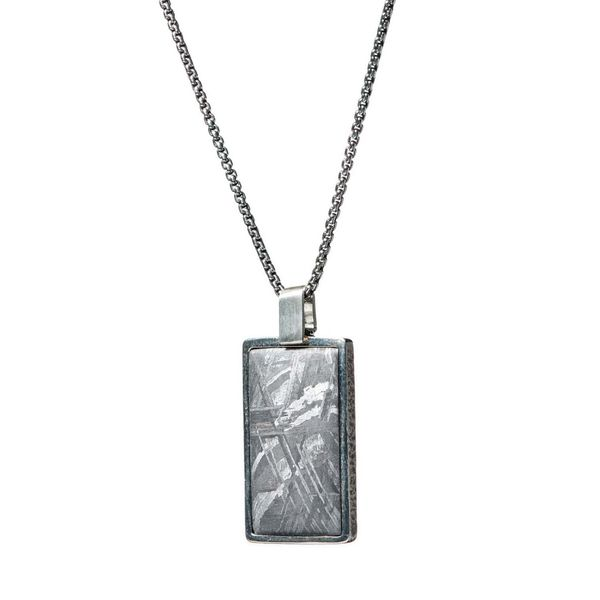 "William Henry Meteorite Shift Pendant in Sterling Silver with Silver Chain, 22"" in Length Image 2 La Mine d'Or Moncton, NB"