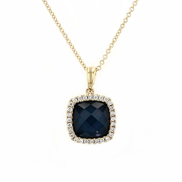 4.64tw Swiss Blue Topaz Hematite & Diamond Halo Pendant La Mine d Or Moncton, NB