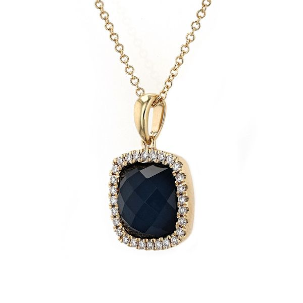 4.64tw Swiss Blue Topaz Hematite & Diamond Halo Pendant Image 2 La Mine d Or Moncton, NB