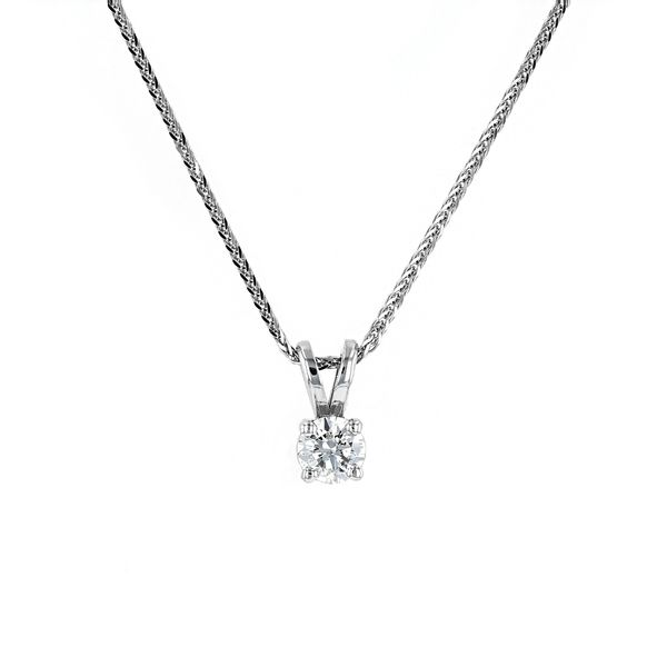 "0.24ct Prive Diamond Solitaire Pendant, 18"" Wheat Chain La Mine d'Or Moncton, NB"