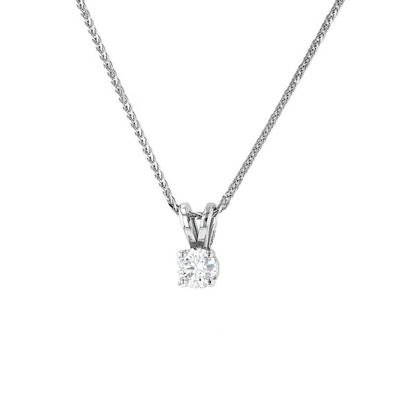 "0.24ct Prive Diamond Solitaire Pendant, 18"" Wheat Chain Image 2 La Mine d'Or Moncton, NB"
