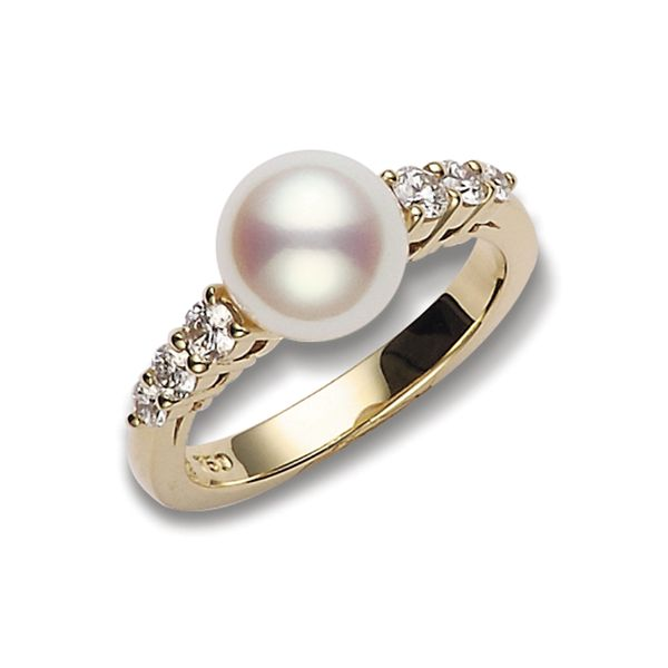 Mikimoto Akoya 8mm Pearl and 0.31tw Diamond Ring La Mine d'Or Moncton, NB