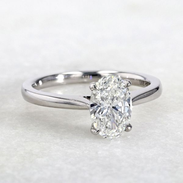 1.29ct Prive Oval Solitaire Engagement Ring 18kt White Palladium Gold Image 3 La Mine d Or Moncton, NB