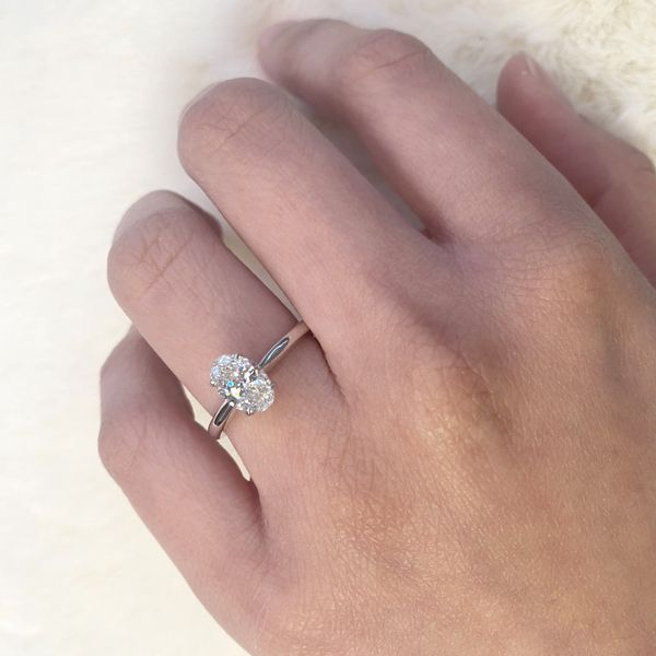 1.29ct Prive Oval Solitaire Engagement Ring 18kt White Palladium Gold Image 4 La Mine d Or Moncton, NB