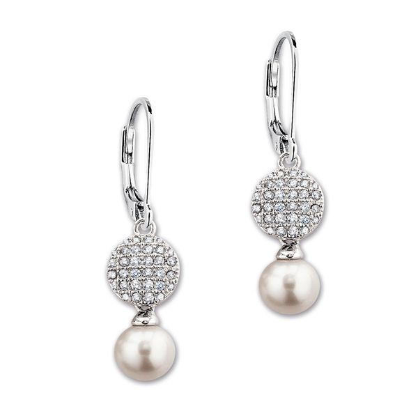 "Elle Design ""Micro Pave"" Collection White Pearl and Cubic Drop Earrings La Mine d'Or Moncton, NB"
