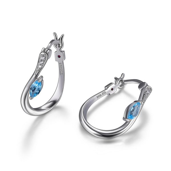 Elle Design Moon Shadow Collection Blue Topaz and Cubic Hoop Earrings Image 2 La Mine d'Or Moncton, NB