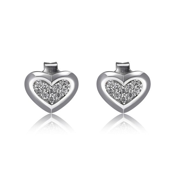 "Elle Design ""Scintillation"" Collection Sterling Silver Cubic Heart Studs La Mine d'Or Moncton, NB"