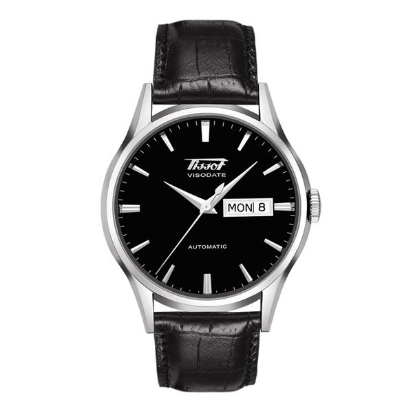 Tissot Stainless Heritage Visodate Automatic Watch with Round Black Dial and Strap La Mine d'Or Moncton, NB