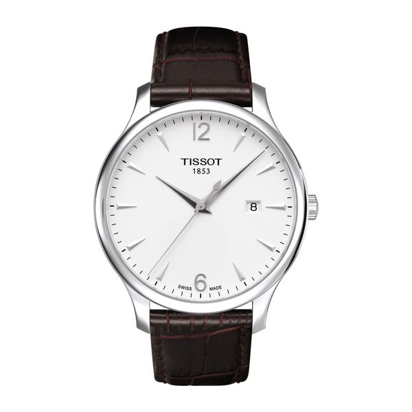Tissot Stainless Tradition Watch with Round White Dial and Black Strap La Mine d'Or Moncton, NB