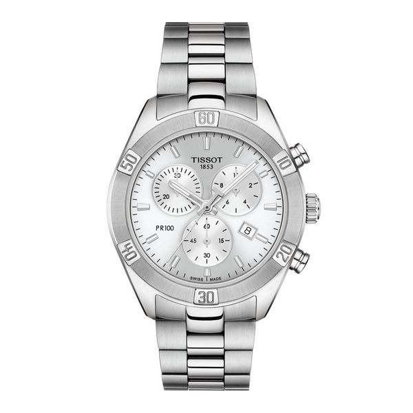 Tissot Stainless PR 100 Sport Chic Chronograph Watch with Round Silver Dial La Mine d'Or Moncton, NB