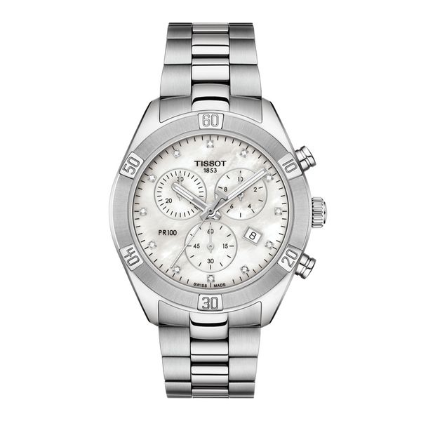 Tissot Stainless Unisex PR100 Sport Chic Chronograh with Mother of Pearl Dial La Mine d'Or Moncton, NB