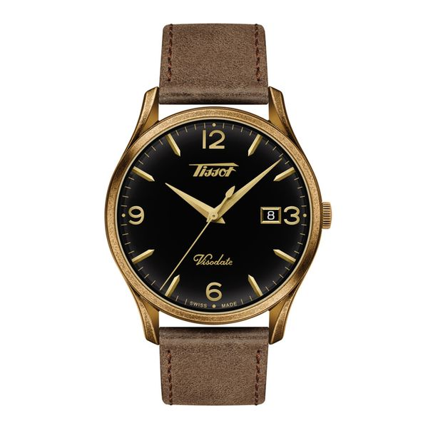 Tissot Heritage Visodate Watch with Round Black Dial and Brown Strap La Mine d'Or Moncton, NB