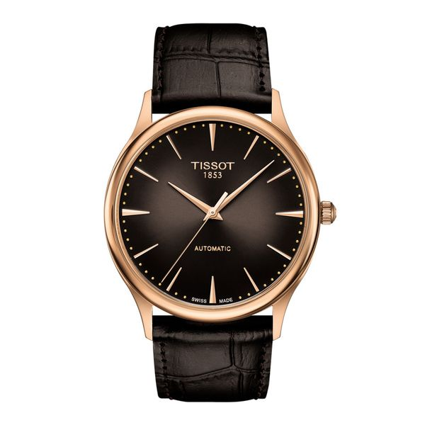 Tissot Rosteone Excellence Automatic 18kt Gold with Round Black Dial and Black Strap La Mine d'Or Moncton, NB