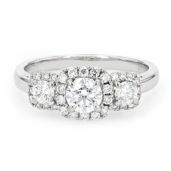 1.00tw Forevermark Diamond Trinity Halo Style Engagement Ring La Mine d'Or Moncton, NB