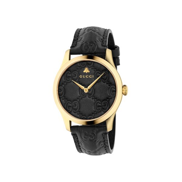 Gucci G-Timeless 38mm Quartz Gold Plated with Black Dial and Leather Strap La Mine d'Or Moncton, NB