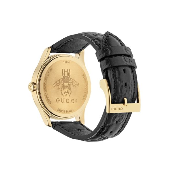 Gucci G-Timeless 38mm Quartz Gold Plated with Black Dial and Leather Strap Image 2 La Mine d'Or Moncton, NB