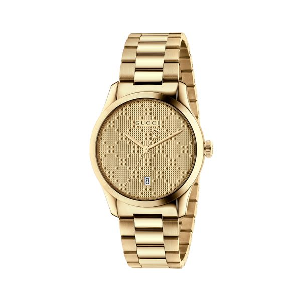 Gucci G-Timeless 38mm Quartz Gold Plated PVD Guilloche Signature Watch La Mine d'Or Moncton, NB