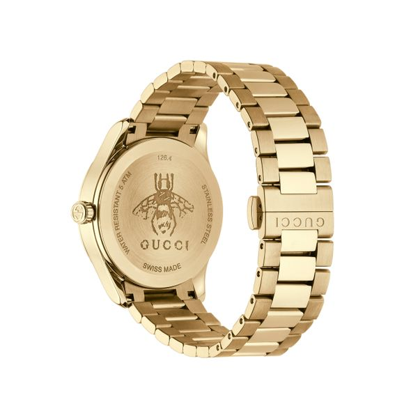 Gucci G-Timeless 38mm Quartz Gold Plated PVD Guilloche Signature Watch Image 2 La Mine d'Or Moncton, NB