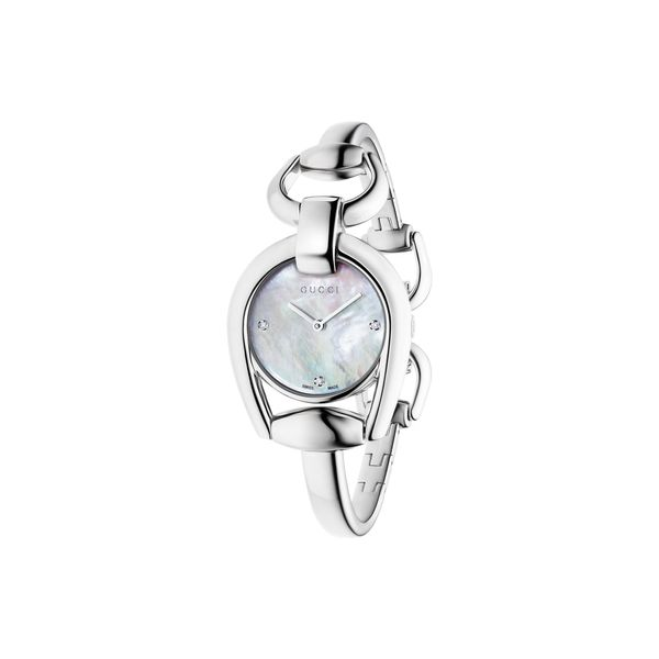 Gucci Horsebit Collection with Mother of Pearl Dial Bangle Watch La Mine d'Or Moncton, NB