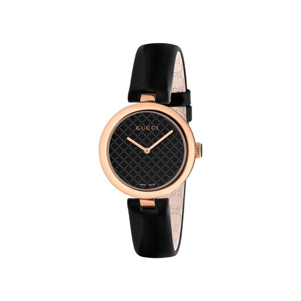 Gucci Diamatissima 32mm Black Lacquered Dial and Black Leather Strap La Mine d'Or Moncton, NB