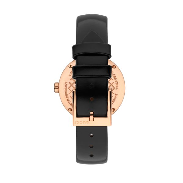 Gucci Diamatissima 32mm Black Lacquered Dial and Black Leather Strap Image 4 La Mine d'Or Moncton, NB