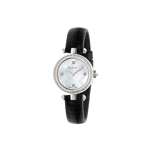 Gucci Diamantissima 27mm with Mother of Pearl Dial, Diamond Bezel and Black Strap La Mine d'Or Moncton, NB