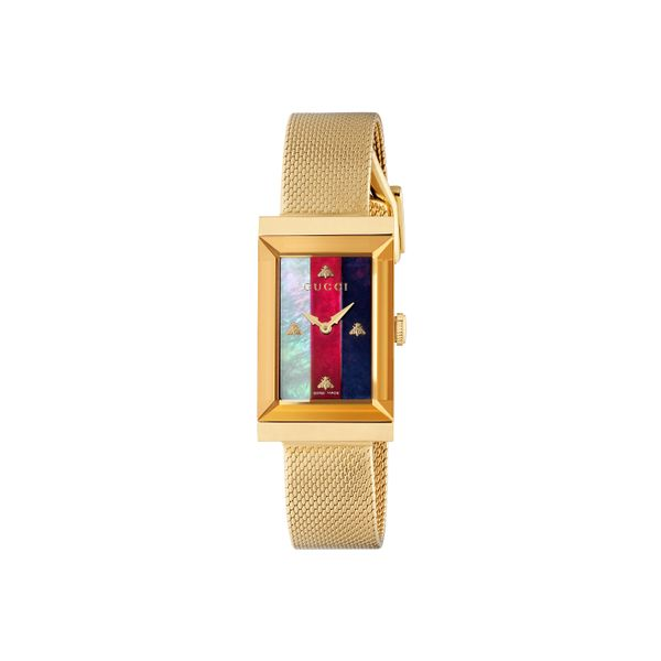 Gucci G-Frame Goldtone CRB MOP Dial with Interchangeable Mesh Bracelet La Mine d'Or Moncton, NB