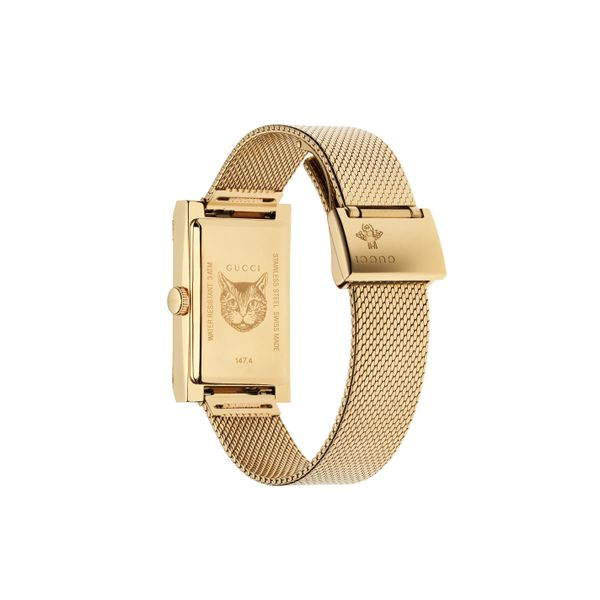Gucci G-Frame Goldtone CRB MOP Dial with Interchangeable Mesh Bracelet Image 2 La Mine d'Or Moncton, NB