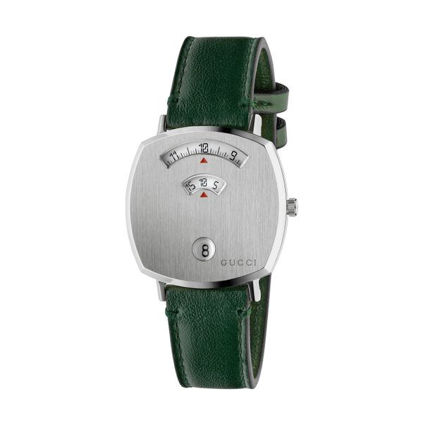 Gucci Grip Stainless Steel Covered Dial Green Leather Strap La Mine d'Or Moncton, NB