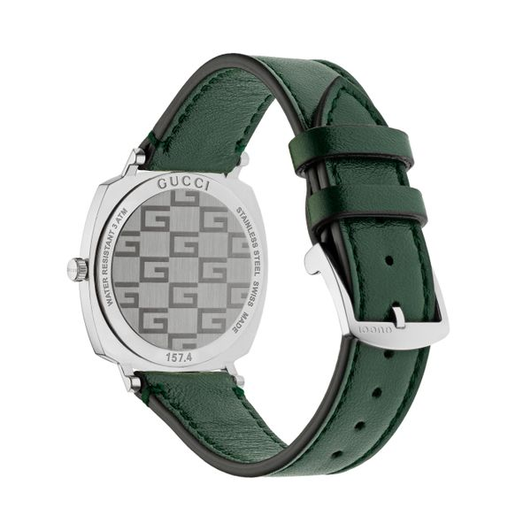 Gucci Grip Stainless Steel Covered Dial Green Leather Strap Image 2 La Mine d'Or Moncton, NB