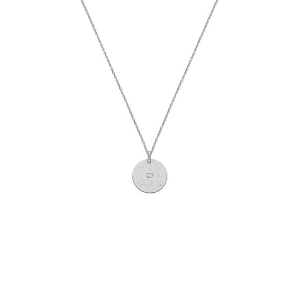 Gucci Icon Blooms Necklace with White Enamel Pendant in 18kt White Gold La Mine d'Or Moncton, NB