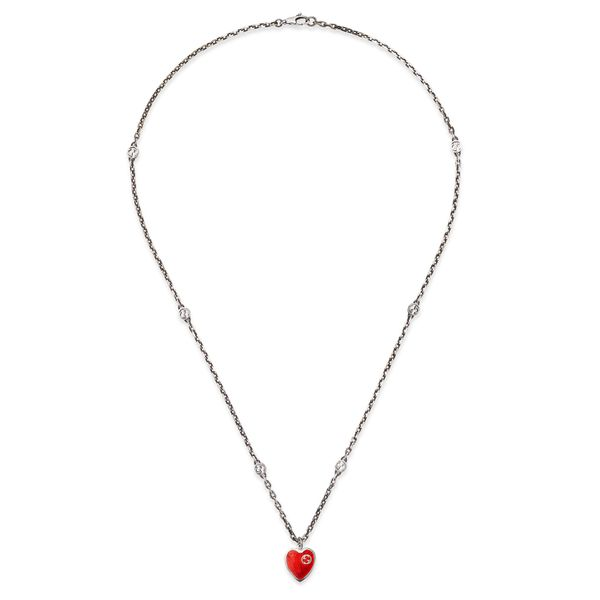 Gucci Interlocking G Red Enamel Heart Necklace La Mine d Or Moncton, NB