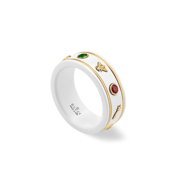 Gucci Icon Ring 7mm and 18kt Yellow Gold with White Enamel and Multi Stone La Mine d Or Moncton, NB
