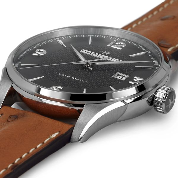 Hamilton Stainless JazzMaster Viewmatic Automatic with Black Dial and Tan Strap Image 4 La Mine d Or Moncton, NB