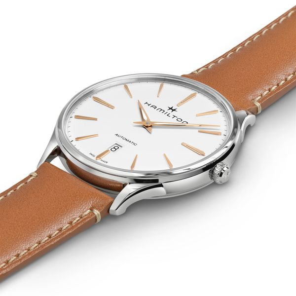 Hamilton Stainless JazzMaster Thinline Automatic with Round White Dial and Tan Strap Image 4 La Mine d'Or Moncton, NB
