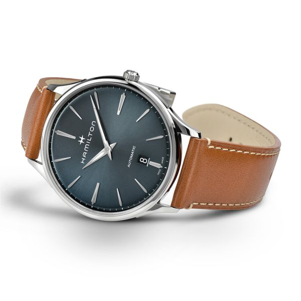 Hamilton Stainless JazzMaster Thinline Automatic with Blue Dial and Tan Strap Image 3 La Mine d Or Moncton, NB