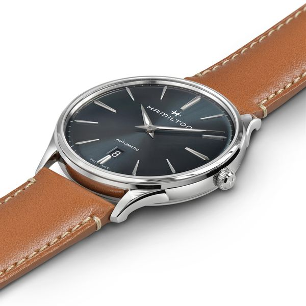 Hamilton Stainless JazzMaster Thinline Automatic with Blue Dial and Tan Strap Image 4 La Mine d Or Moncton, NB