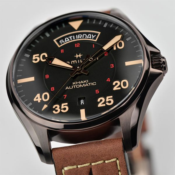 Hamilton PVD Khaki Aviation Day Date Automatic with Round Black Dial and Tan Strap Image 2 La Mine d'Or Moncton, NB