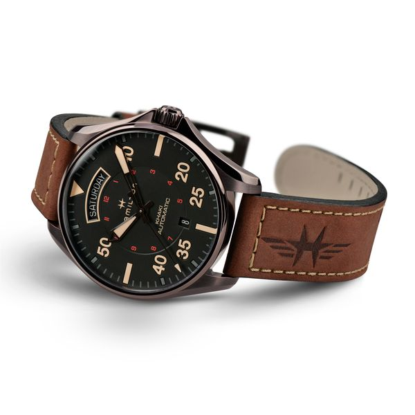 Hamilton PVD Khaki Aviation Day Date Automatic with Round Black Dial and Tan Strap Image 3 La Mine d'Or Moncton, NB