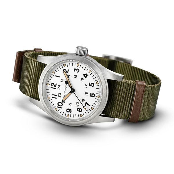 Hamilton Stainless Khaki Field Mechanical with Round White Dial and Khaki Strap Image 3 La Mine d Or Moncton, NB