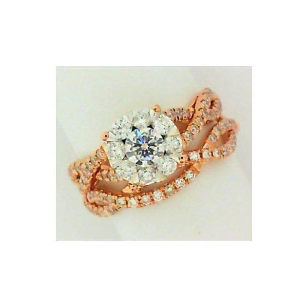 White Gold Cluster Style Engagement Set Layne's Jewelry Gonzales, LA
