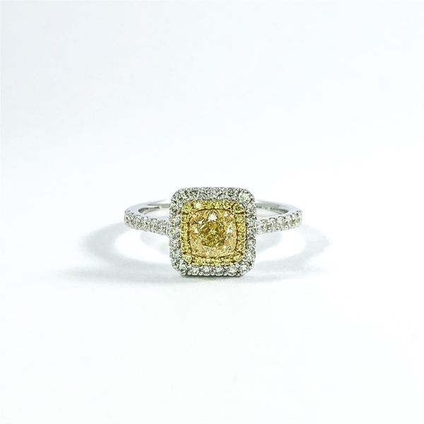 .65ct Radiant Cut Fancy Yellow Diamond Engagement Ring Lumina Gem Wilmington, NC