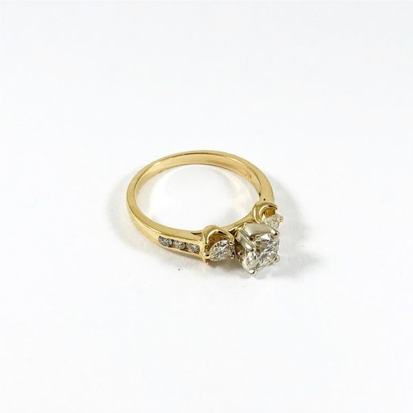 Three Stone Diamond Ring in a Diamond and Yellow Gold Setting Image 2 Lumina Gem Wilmington, NC
