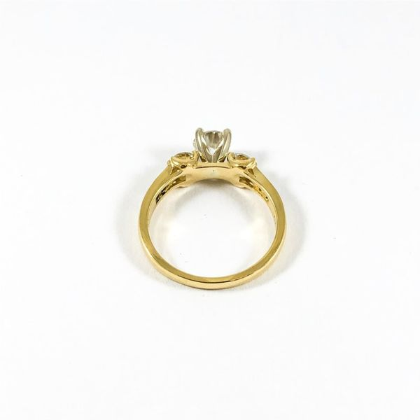 Three Stone Diamond Ring in a Diamond and Yellow Gold Setting Image 3 Lumina Gem Wilmington, NC