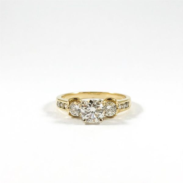 Three Stone Diamond Ring in a Diamond and Yellow Gold Setting Lumina Gem Wilmington, NC