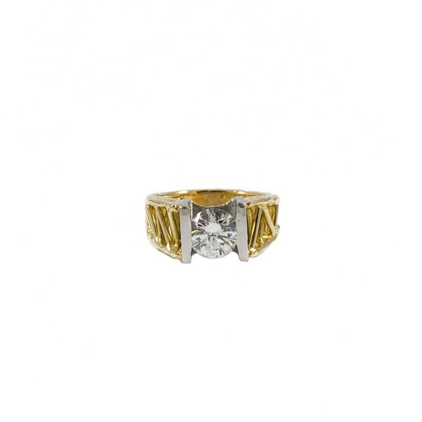 1.66ct Round Diamond Engagement Ring in an 18k Yellow Gold and Platinum Setting Lumina Gem Wilmington, NC