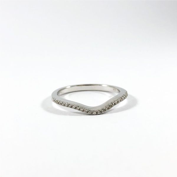 Diamond and White Gold Curved Wedding Band Image 2 Lumina Gem Wilmington, NC