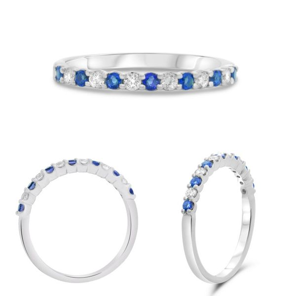 .15ctw Diamond and .24ctw Sapphire Band - White Gold Image 4 Lumina Gem Wilmington, NC
