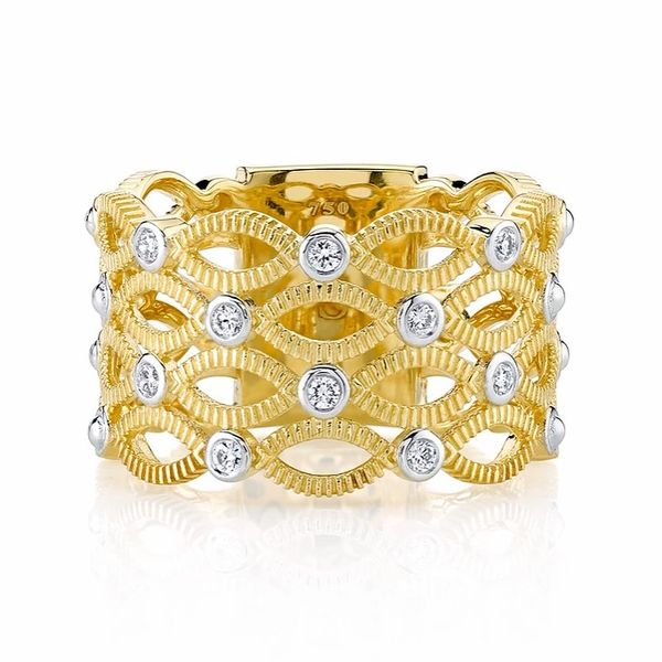 Sloane Street .15ctw Diamond and Strie Yellow Gold Wide Band Lumina Gem Wilmington, NC